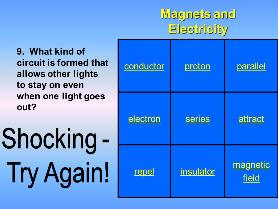 Magnets and Electricity 9. What kind of circuit is formed that allows other lights to stay on even when one light goes out? conductorprotonparallel el