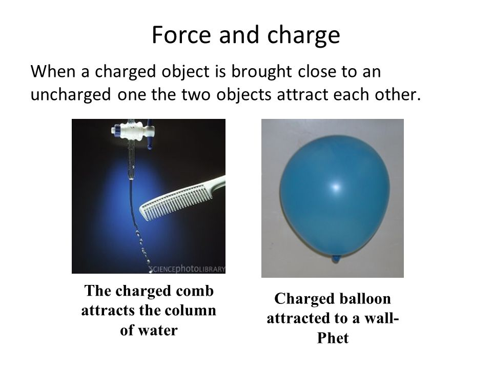 Force and charge When a charged object is brought close to an uncharged one the two objects attract each other.