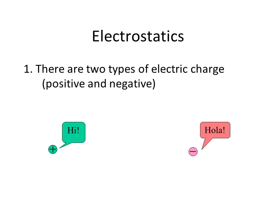Electrostatics 1. There are two types of electric charge (positive and negative) Hi! Hola!