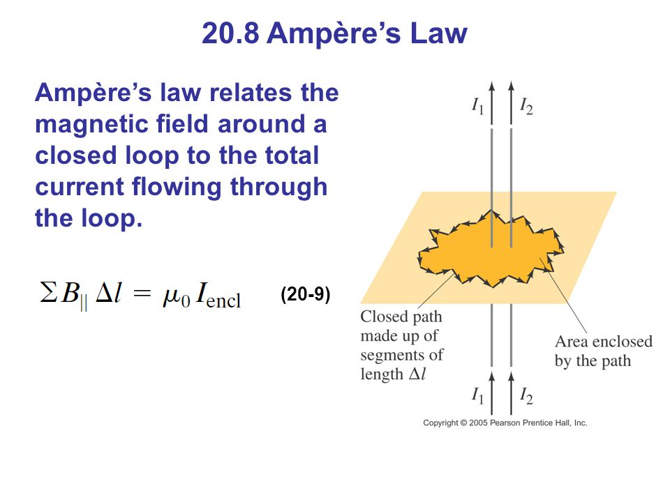 20.8 Ampère's Law Ampère's law relates the magnetic field around a closed loop to the total current flowing through the loop. (20-9)