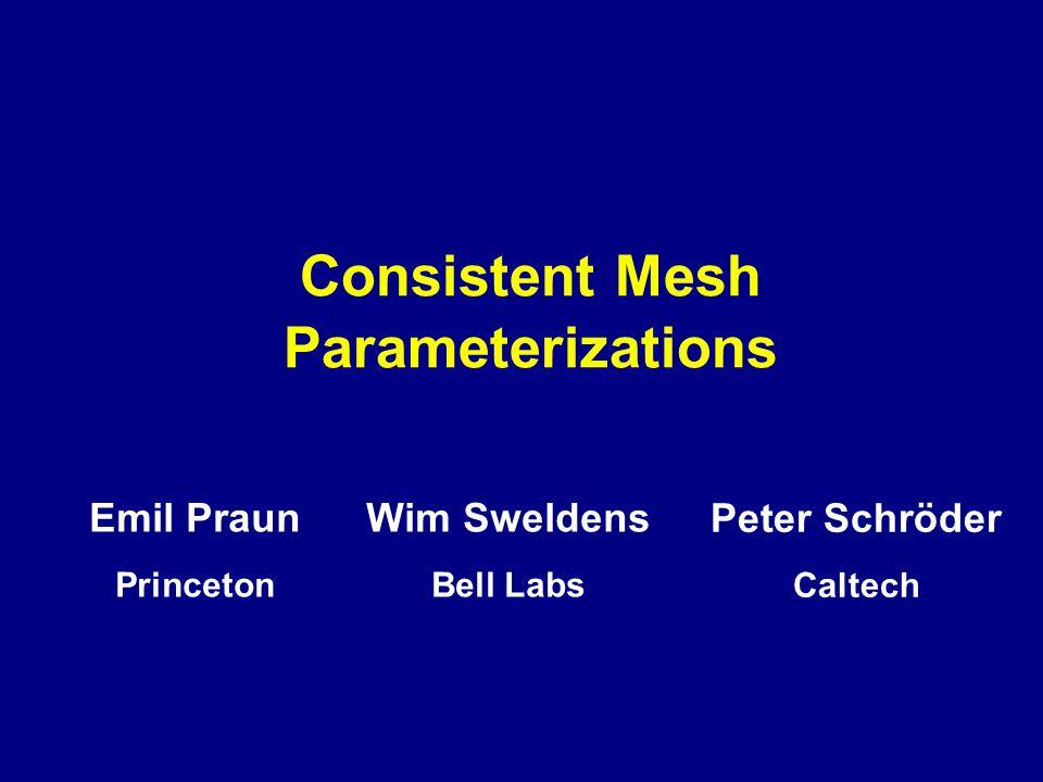 Consistent Mesh Parameterizations Peter Schröder Caltech Wim Sweldens Bell Labs Emil Praun Princeton