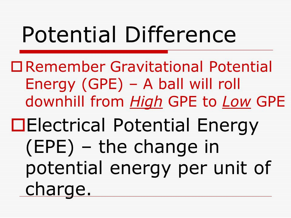 Potential Difference  Remember Gravitational Potential Energy (GPE) – A ball will roll downhill from High GPE to Low GPE  Electrical Potential Energ