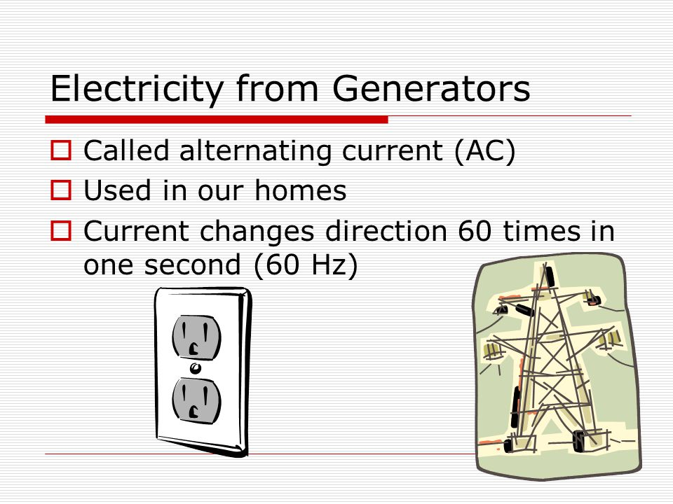 Electricity from Generators  Called alternating current (AC)  Used in our homes  Current changes direction 60 times in one second (60 Hz)