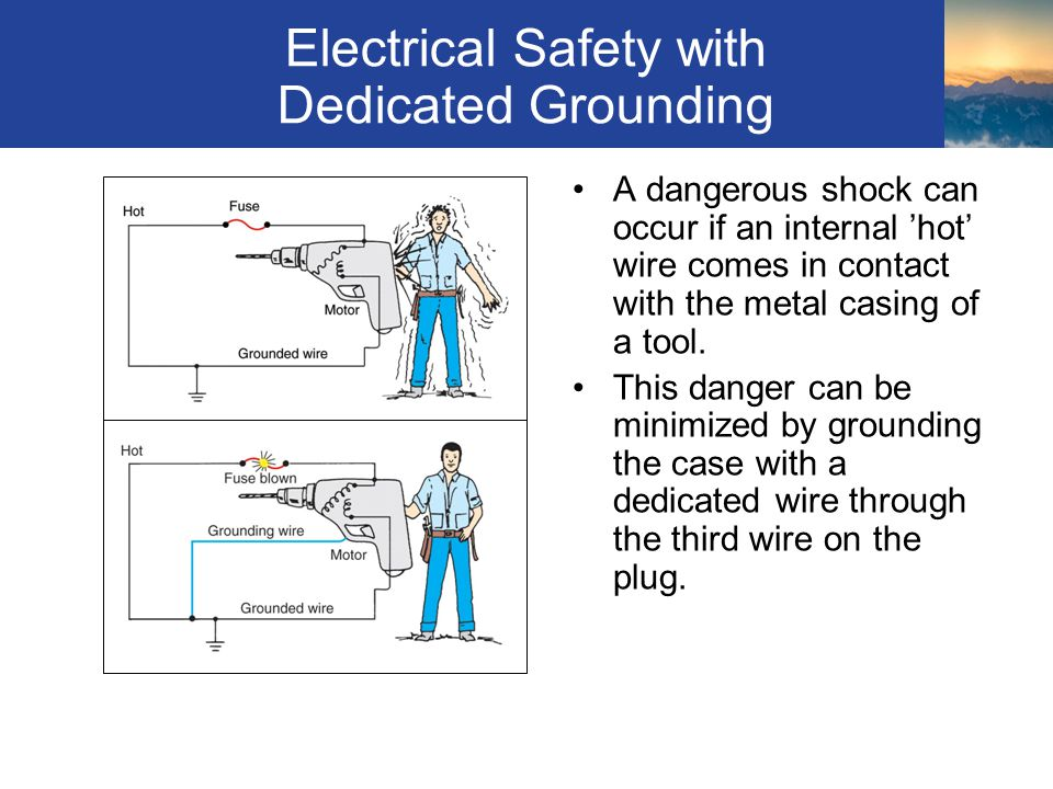 Electrical Safety with Dedicated Grounding A dangerous shock can occur if an internal 'hot' wire comes in contact with the metal casing of a tool.