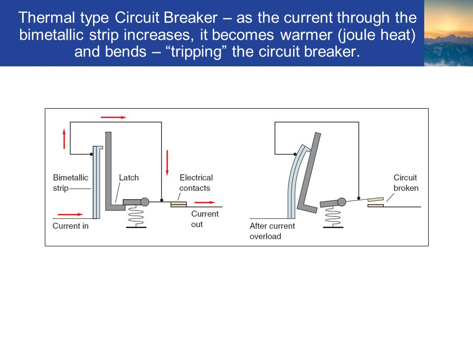 Thermal type Circuit Breaker – as the current through the bimetallic strip increases, it becomes warmer (joule heat) and bends – tripping the circuit breaker.
