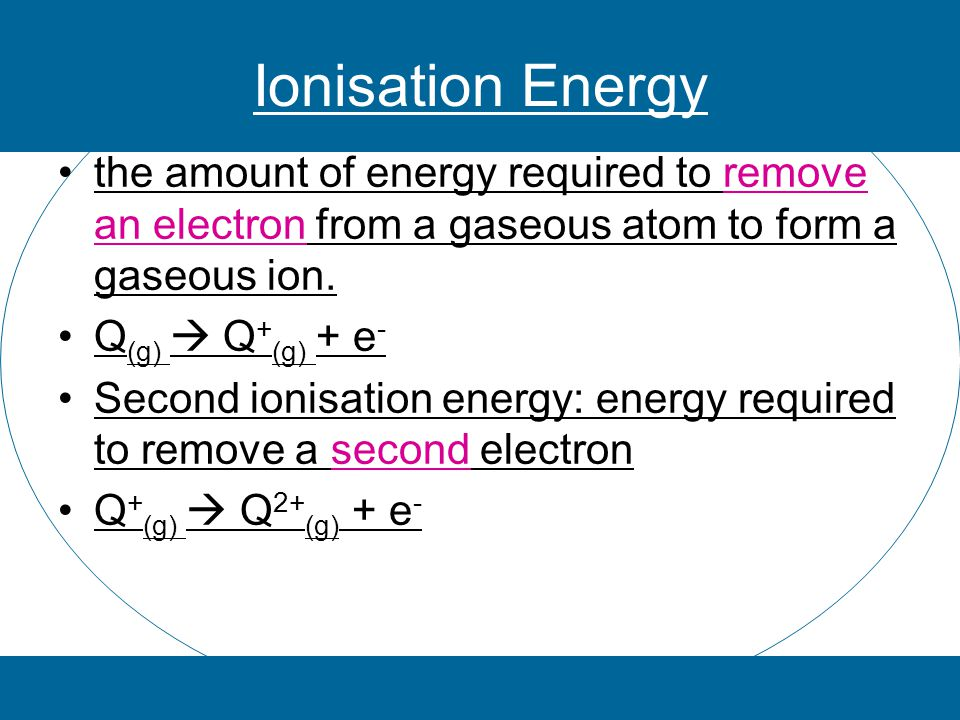 Energy is required to remove an electron (endothermic) Factors affecting ionisation energy 1.Charge on the nucleus 2.Repulsion (pushing away) or shielding of electron from inner orbitals 3.Repulsion on the electron from other electrons in the valence shell