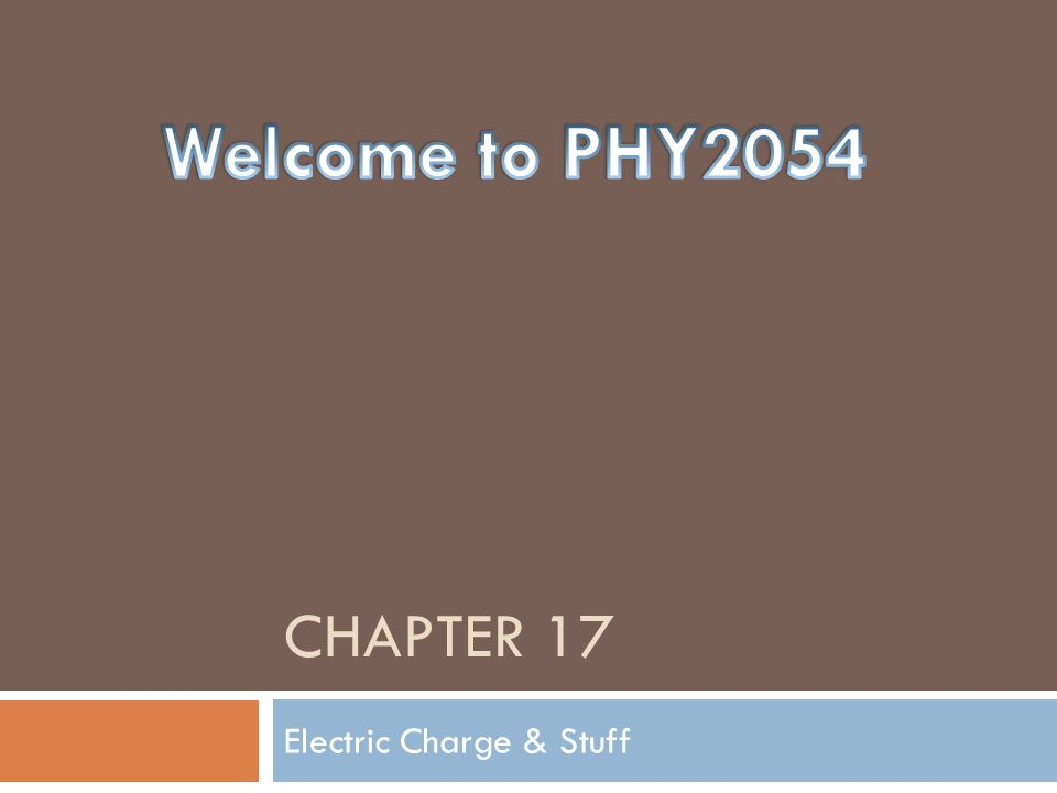 CHAPTER 17 Electric Charge & Stuff