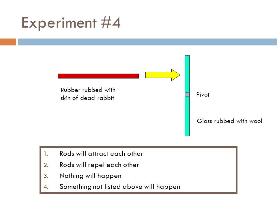 Experiment #4 Pivot 1.Rods will attract each other 2.