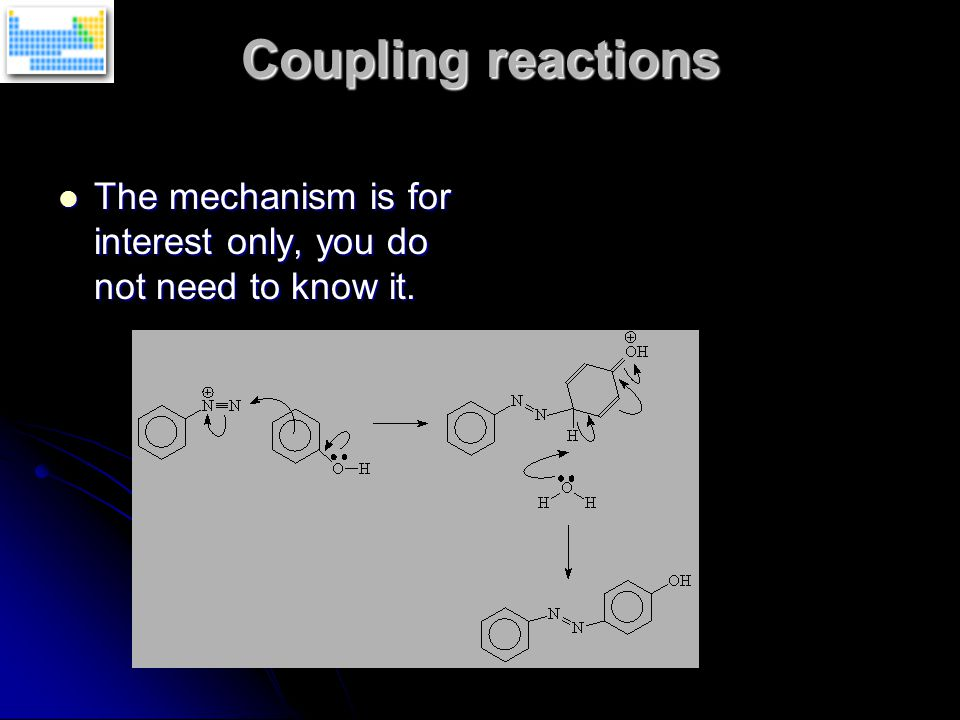 Coupling reactions The mechanism is for interest only, you do not need to know it.