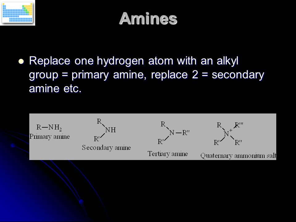 Amines Replace one hydrogen atom with an alkyl group = primary amine, replace 2 = secondary amine etc. Replace one hydrogen atom with an alkyl group =
