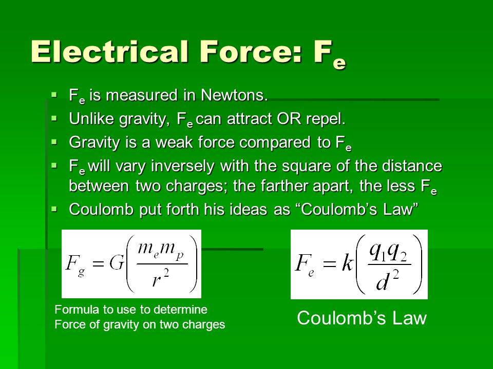 Electrical Force: F e  F e is measured in Newtons.