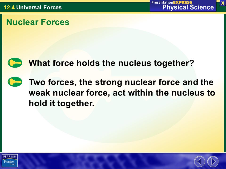 12.4 Universal Forces What force holds the nucleus together.