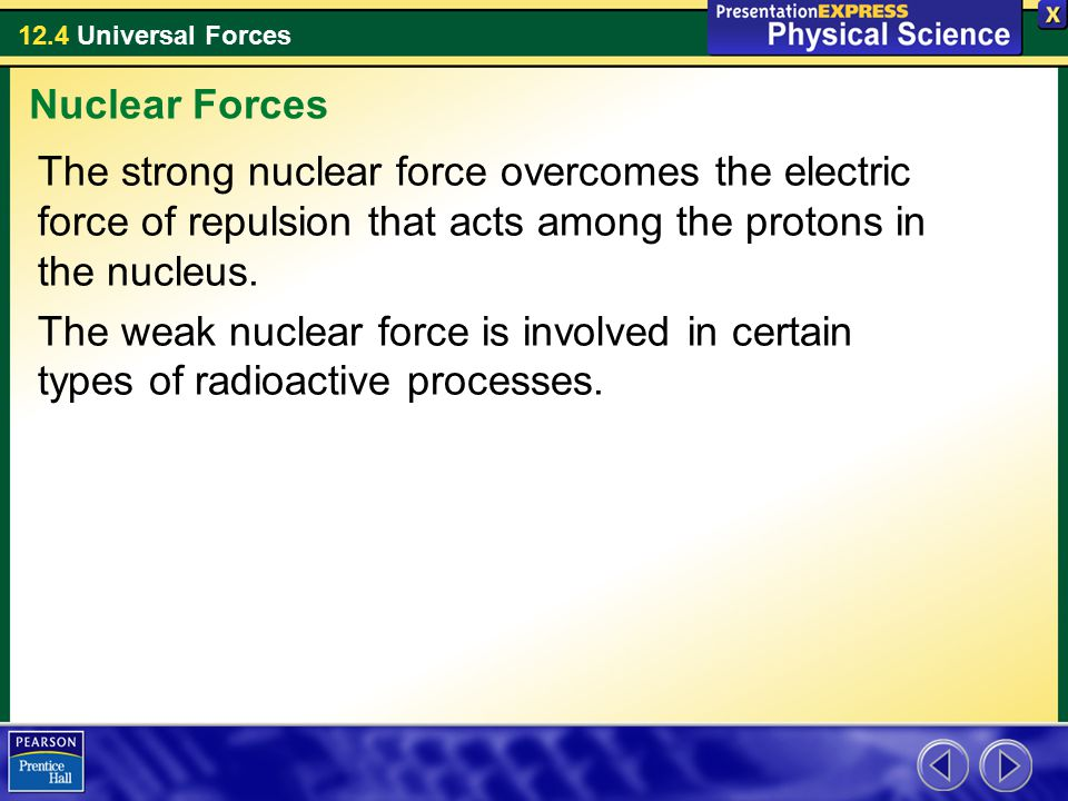 12.4 Universal Forces The strong nuclear force overcomes the electric force of repulsion that acts among the protons in the nucleus.