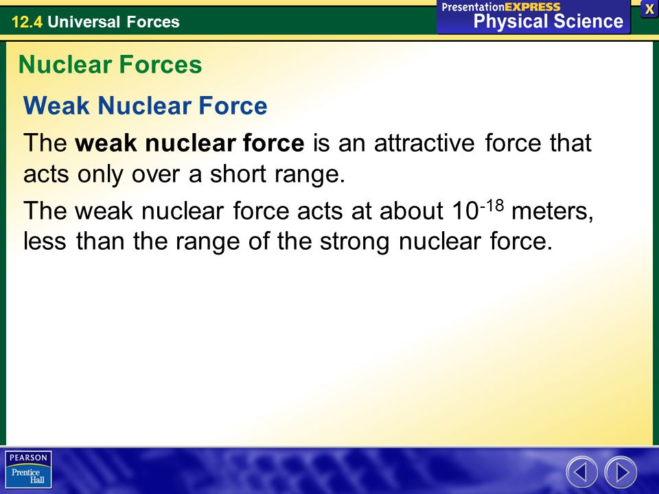 12.4 Universal Forces Weak Nuclear Force The weak nuclear force is an attractive force that acts only over a short range.