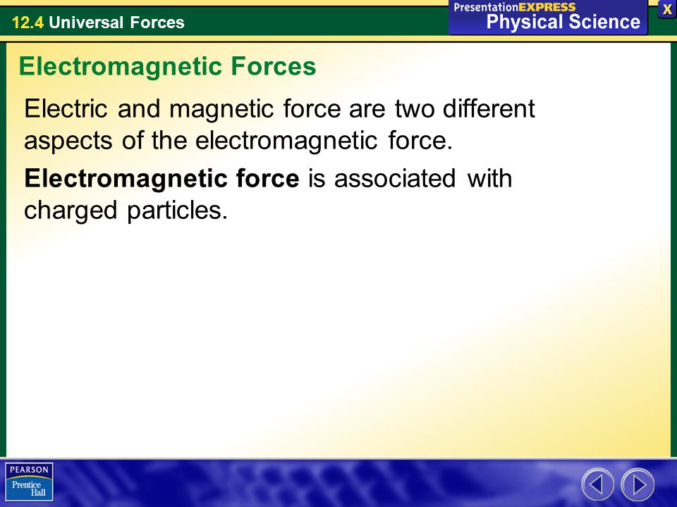 12.4 Universal Forces Electric and magnetic force are two different aspects of the electromagnetic force.