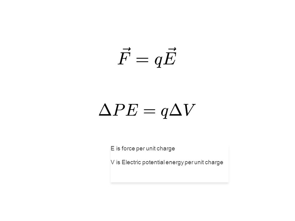E is force per unit charge V is Electric potential energy per unit charge E is force per unit charge V is Electric potential energy per unit charge