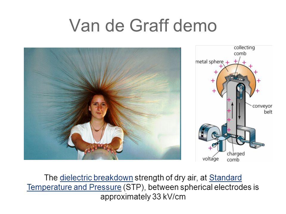 Van de Graff demo The dielectric breakdown strength of dry air, at Standard Temperature and Pressure (STP), between spherical electrodes is approximately 33 kV/cmdielectric breakdownStandard Temperature and Pressure