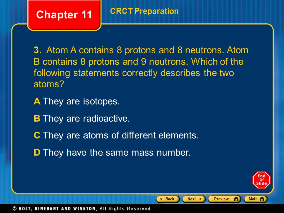 < BackNext >PreviewMain Chapter 11 CRCT Preparation 8.