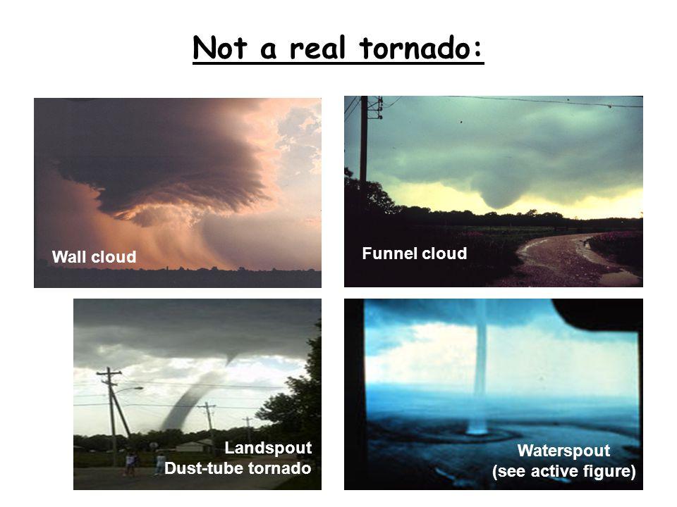 Not a real tornado: Waterspout (see active figure) Funnel cloud Wall cloud Landspout Dust-tube tornado