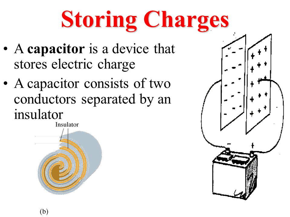 Storing Charges Capacitors can store charges on plates which are separated — as in Franklin's Leyden jars