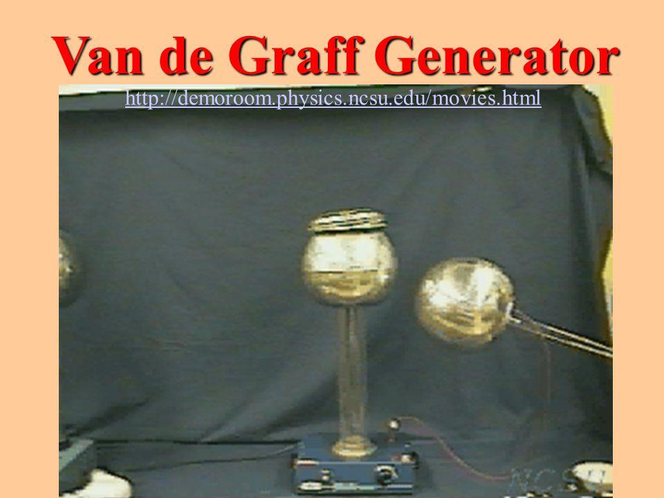 Van de Graff Generator http://demoroom.physics.ncsu.edu/movies.html