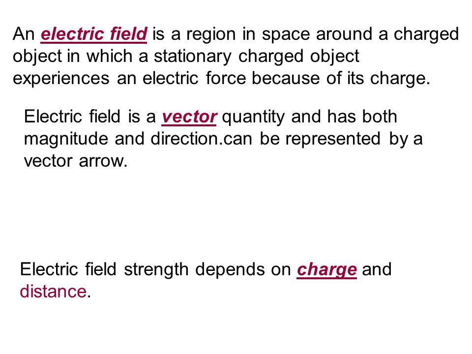 An electric field is a region in space around a charged object in which a stationary charged object experiences an electric force because of its charge.