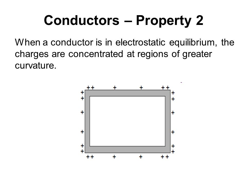 Conductors – Property 2 When a conductor is in electrostatic equilibrium, the charges are concentrated at regions of greater curvature.
