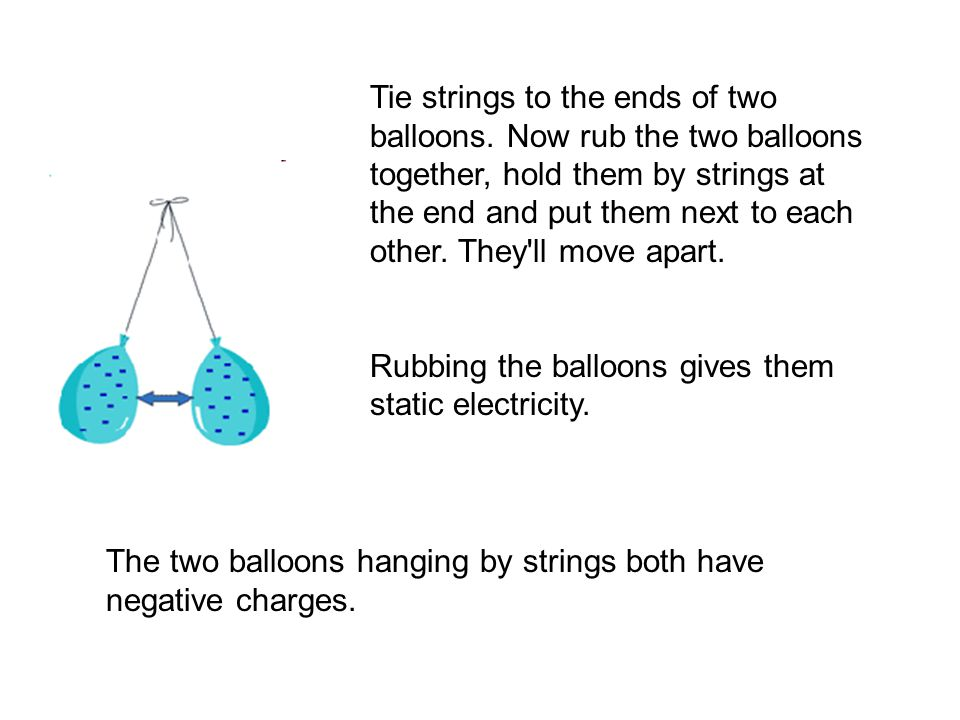 Tie strings to the ends of two balloons.