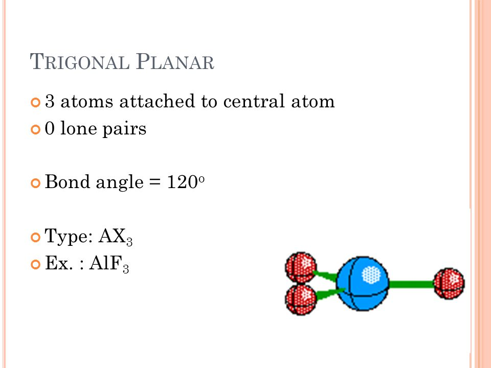 T RIGONAL P LANAR 3 atoms attached to central atom 0 lone pairs Bond angle = 120 o Type: AX 3 Ex.