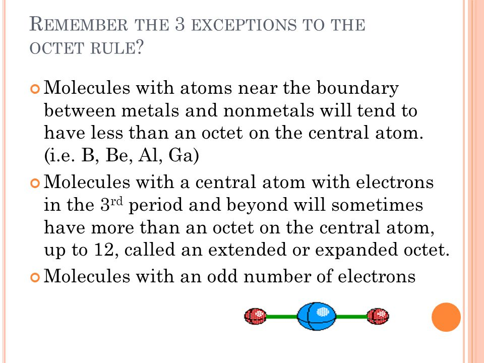 R EMEMBER THE 3 EXCEPTIONS TO THE OCTET RULE .