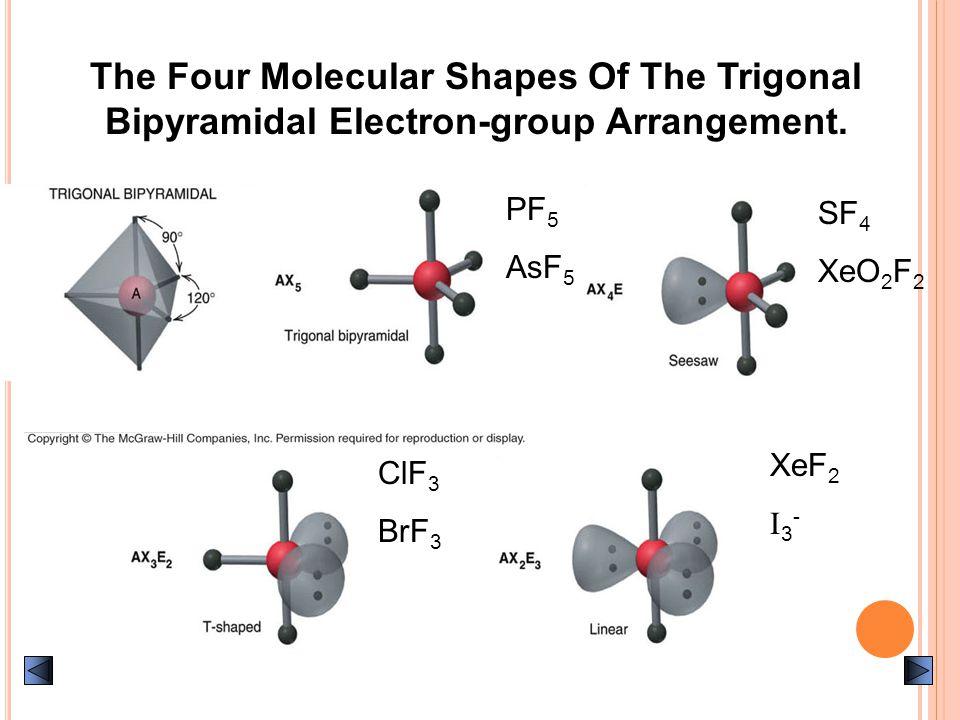 The Four Molecular Shapes Of The Trigonal Bipyramidal Electron-group Arrangement. SF 4 XeO 2 F 2 ClF 3 BrF 3 XeF 2 I 3 - PF 5 AsF 5