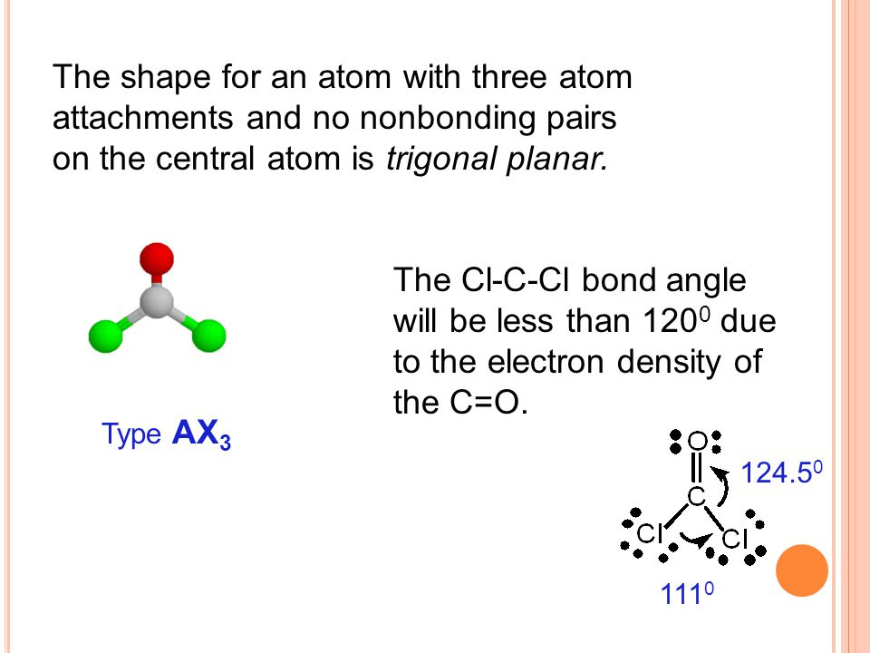 The shape for an atom with three atom attachments and no nonbonding pairs on the central atom is trigonal planar.