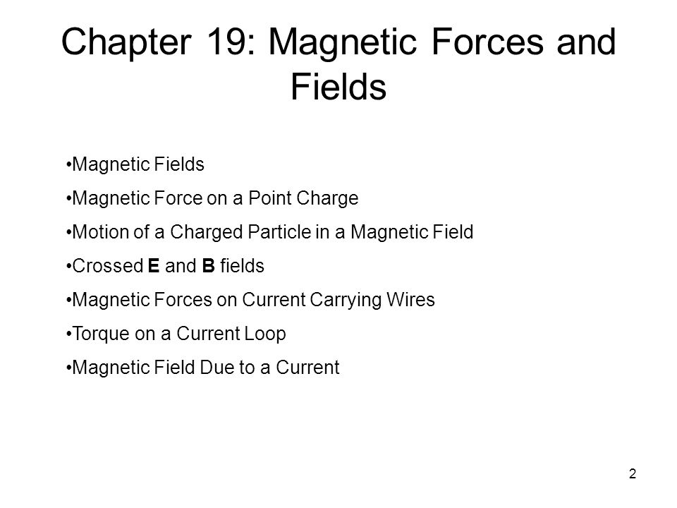 2 Chapter 19: Magnetic Forces and Fields Magnetic Fields Magnetic Force on a Point Charge Motion of a Charged Particle in a Magnetic Field Crossed E and B fields Magnetic Forces on Current Carrying Wires Torque on a Current Loop Magnetic Field Due to a Current