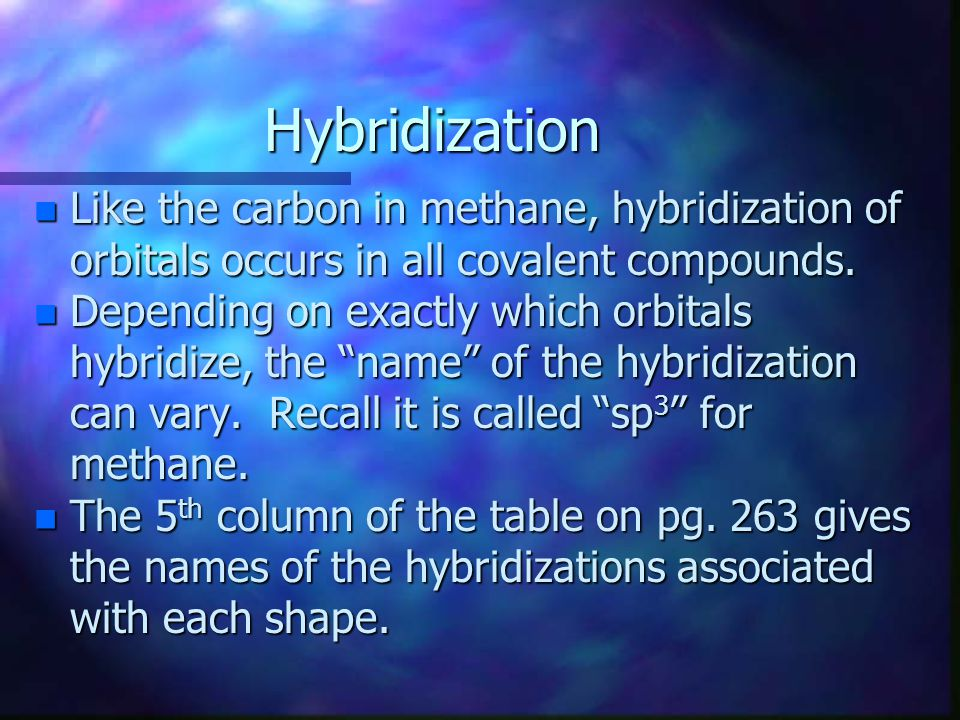 Hybridization n Like the carbon in methane, hybridization of orbitals occurs in all covalent compounds. n Depending on exactly which orbitals hybridiz