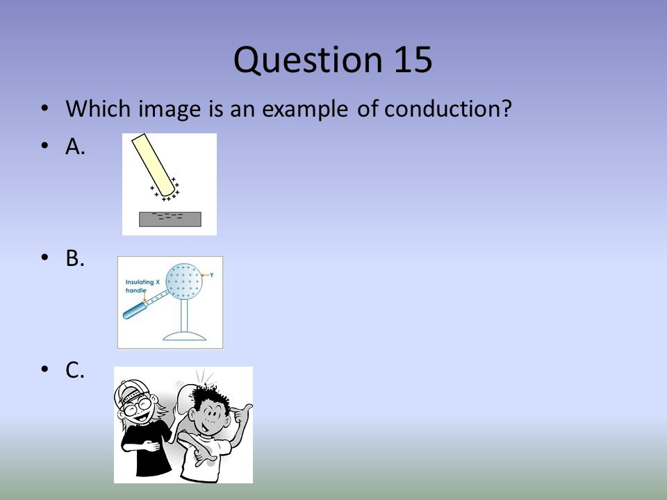 Question 15 Which image is an example of conduction? A. B. C.