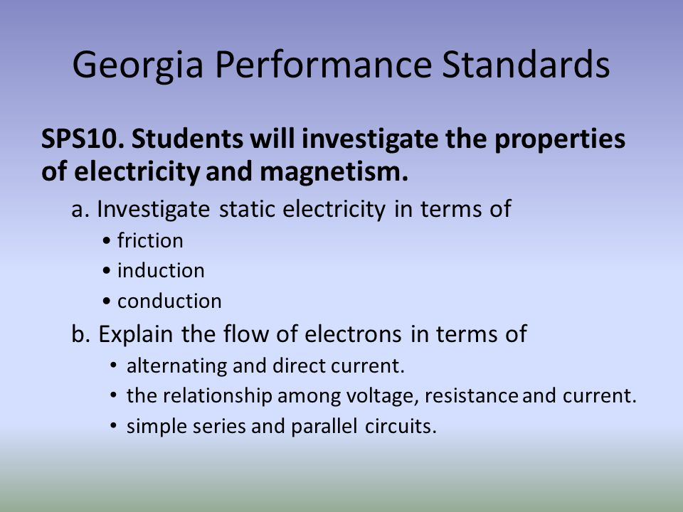 Georgia Performance Standards SPS10.