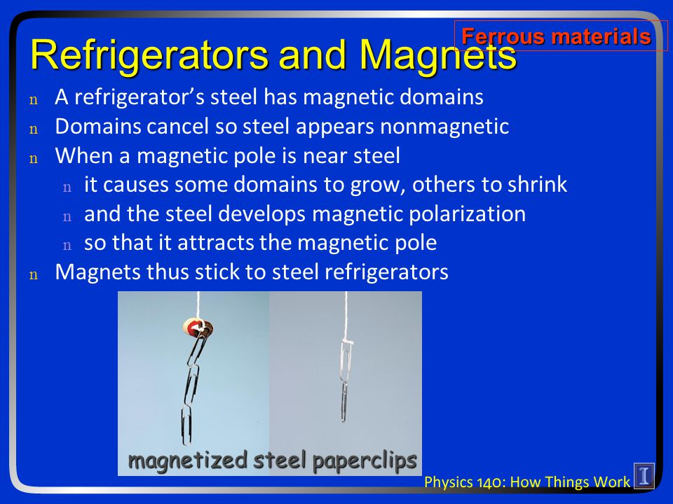 Refrigerators and Magnets n n A refrigerator's steel has magnetic domains n n Domains cancel so steel appears nonmagnetic n n When a magnetic pole is near steel n n it causes some domains to grow, others to shrink n n and the steel develops magnetic polarization n n so that it attracts the magnetic pole n n Magnets thus stick to steel refrigerators magnetized steel paperclips Ferrous materials