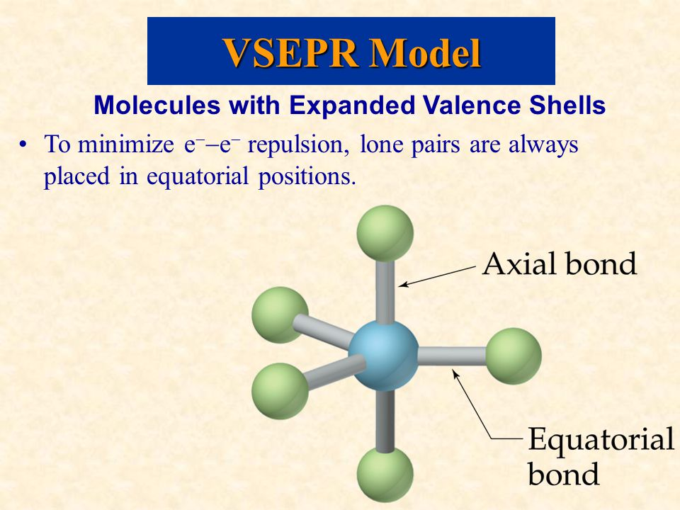 Molecules with Expanded Valence Shells To minimize e   e  repulsion, lone pairs are always placed in equatorial positions.