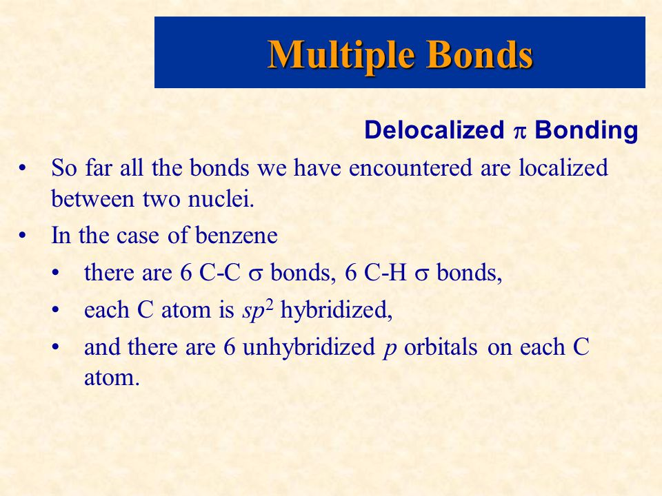 Delocalized  Bonding So far all the bonds we have encountered are localized between two nuclei.