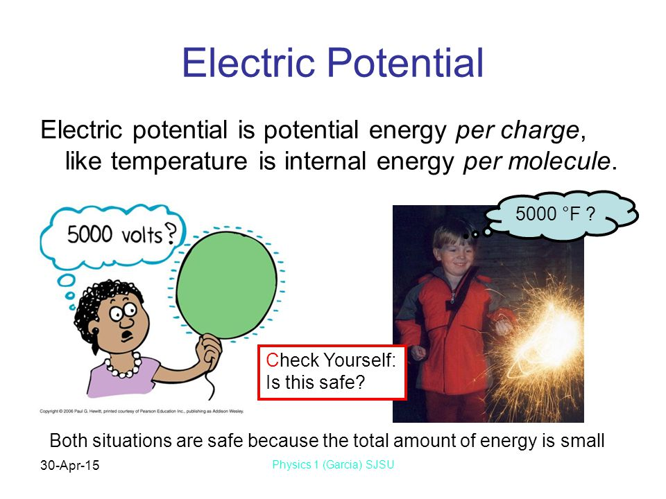 30-Apr-15 Physics 1 (Garcia) SJSU Electric Potential Electric potential is potential energy per charge, like temperature is internal energy per molecule.