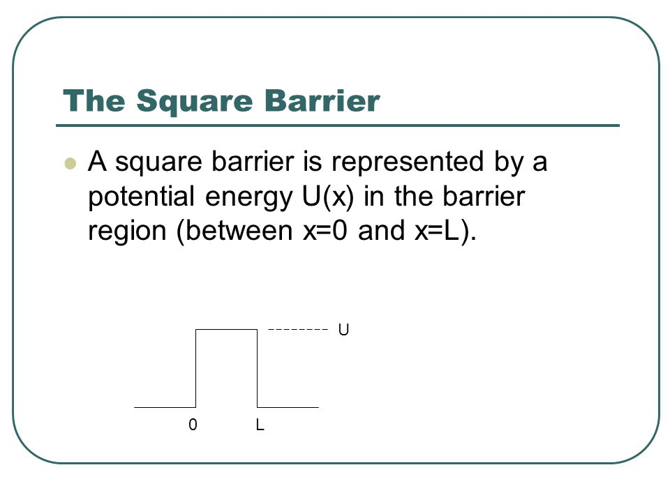 Potential Barriers (E>U) Where respectively.