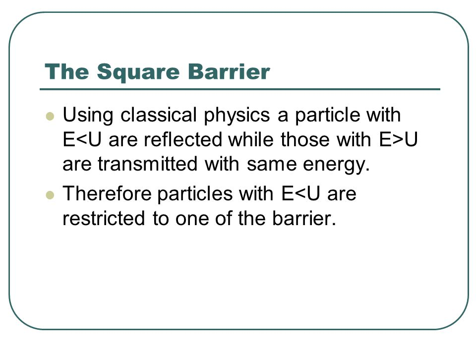 Potential Barriers (E>U) The probability that the particle is reflected is given by the Reflection coefficient R.