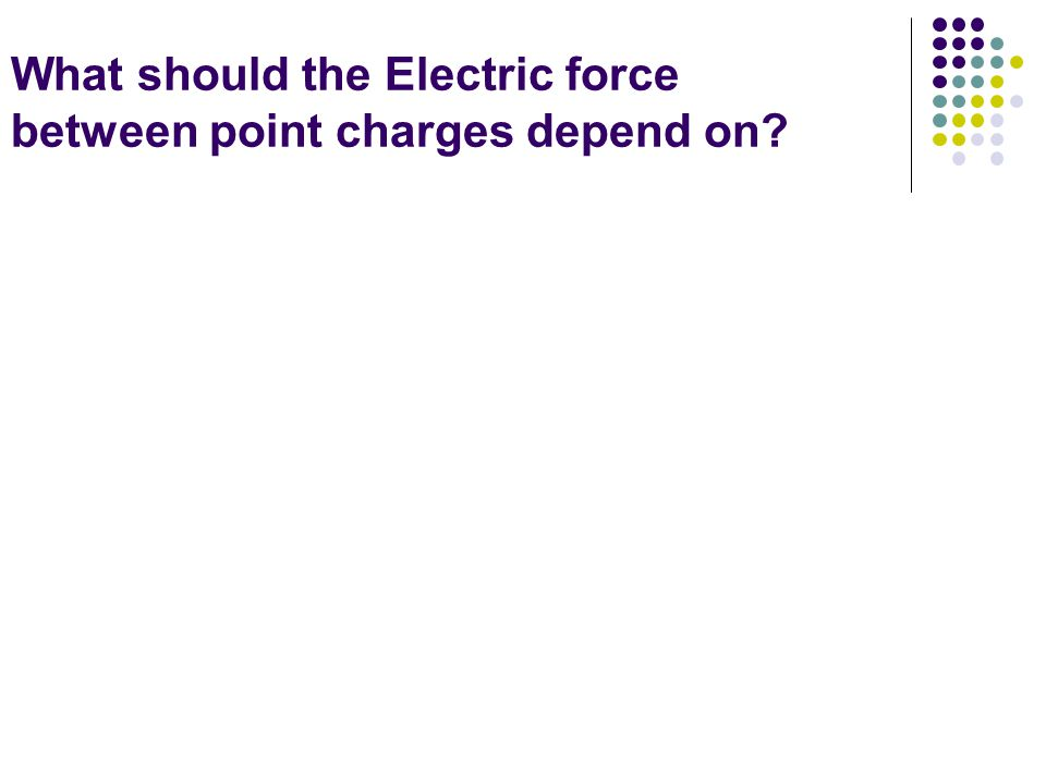 What should the Electric force between point charges depend on?