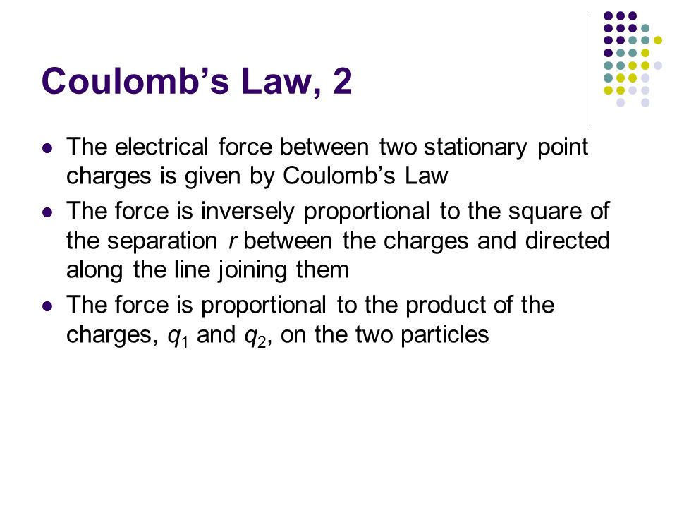 Coulomb's Law, 2 The electrical force between two stationary point charges is given by Coulomb's Law The force is inversely proportional to the square