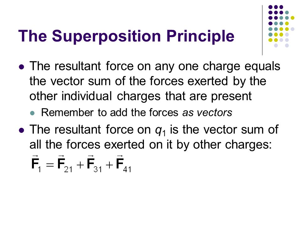 The Superposition Principle The resultant force on any one charge equals the vector sum of the forces exerted by the other individual charges that are present Remember to add the forces as vectors The resultant force on q 1 is the vector sum of all the forces exerted on it by other charges: