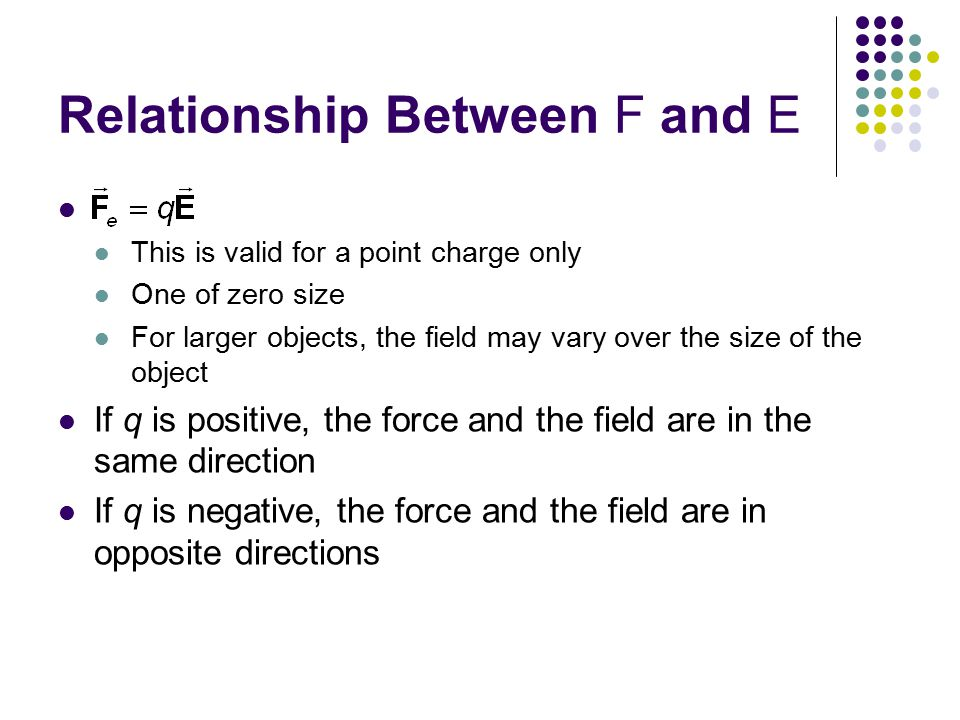 Relationship Between F and E This is valid for a point charge only One of zero size For larger objects, the field may vary over the size of the object