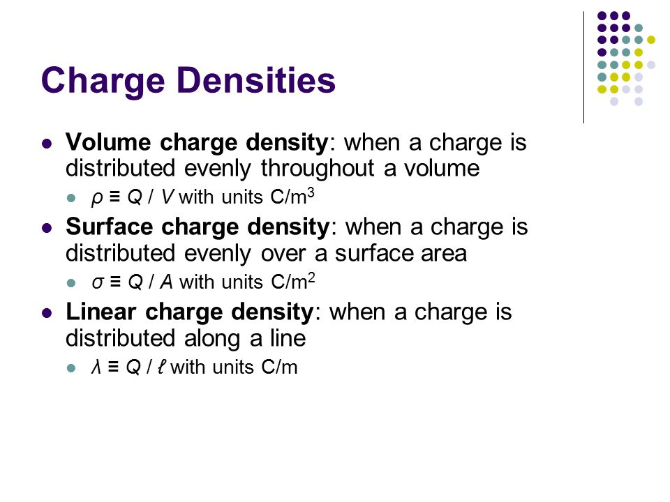 Charge Densities Volume charge density: when a charge is distributed evenly throughout a volume ρ ≡ Q / V with units C/m 3 Surface charge density: whe