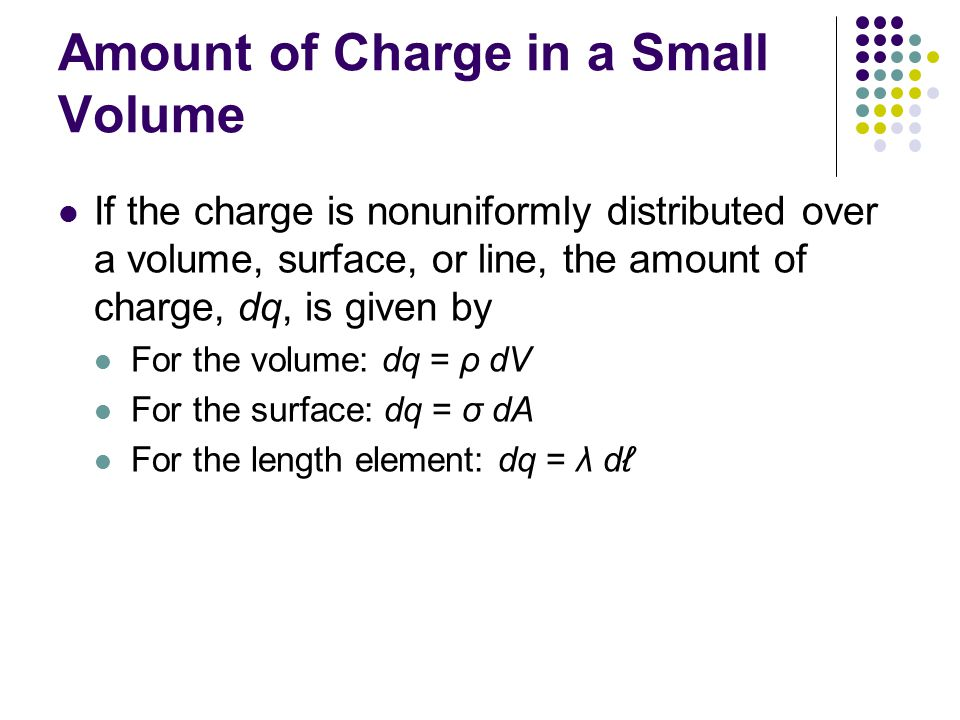 Amount of Charge in a Small Volume If the charge is nonuniformly distributed over a volume, surface, or line, the amount of charge, dq, is given by Fo