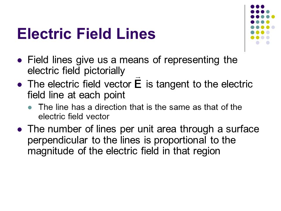 Electric Field Lines Field lines give us a means of representing the electric field pictorially The electric field vector is tangent to the electric field line at each point The line has a direction that is the same as that of the electric field vector The number of lines per unit area through a surface perpendicular to the lines is proportional to the magnitude of the electric field in that region
