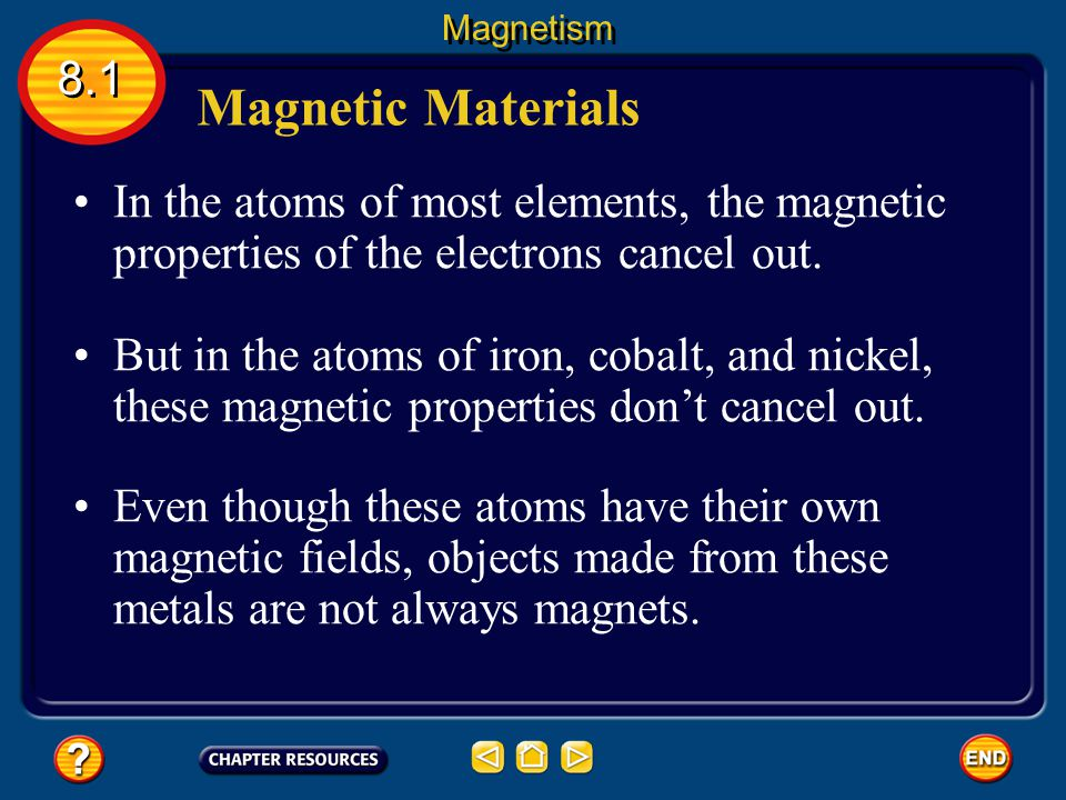 You might have noticed that a magnet will not attract all metal objects. Magnetic Materials 8.1 Magnetism Only a few metals, such as iron, cobalt, or